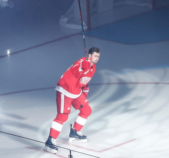 Red Wings forward Dylan Larkin is being introduced on ice during the first period of season opener game against Columbus Blue Jackets at Little Caesars Arena on Thursday, October 4, 2018.