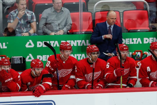 Red Wings coach Jeff Blashill watches the game during the second period against Columbus Blue Jackets at Little Caesars Arena on Thursday, October 4, 2018.