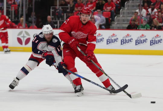 Detroit Red Wings defenseman Dennis Cholowski skates against the Columbus Blue Jackets during the second period Thursday, Oct. 4, 2018 at Little Caesars Arena.
