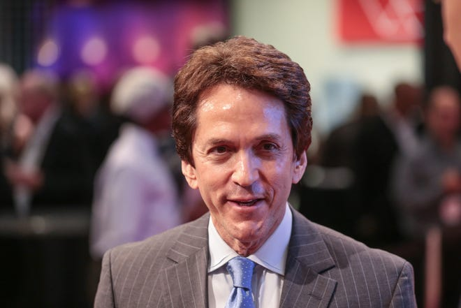 Mitch Albom , author, columnist and broadcaster, talks to press before the start of Michigan Sports Hall of Fame induction ceremony on Friday September 15, 2017 at the Max M. Fisher Music Center in Detroit.