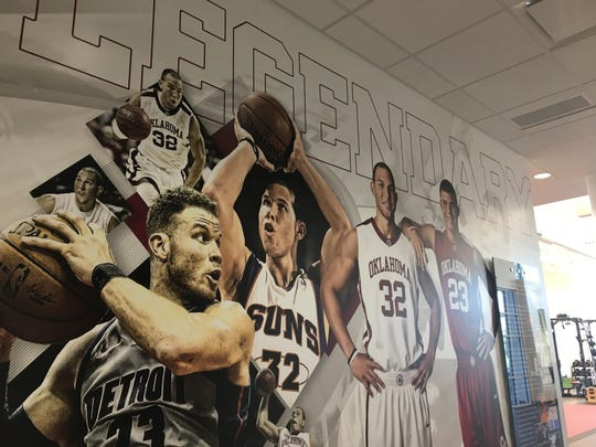 A wall in the Griffin Family Performance Center that commemorates Blake Griffin and his brother, Taylor. Both starred at Oklahoma.