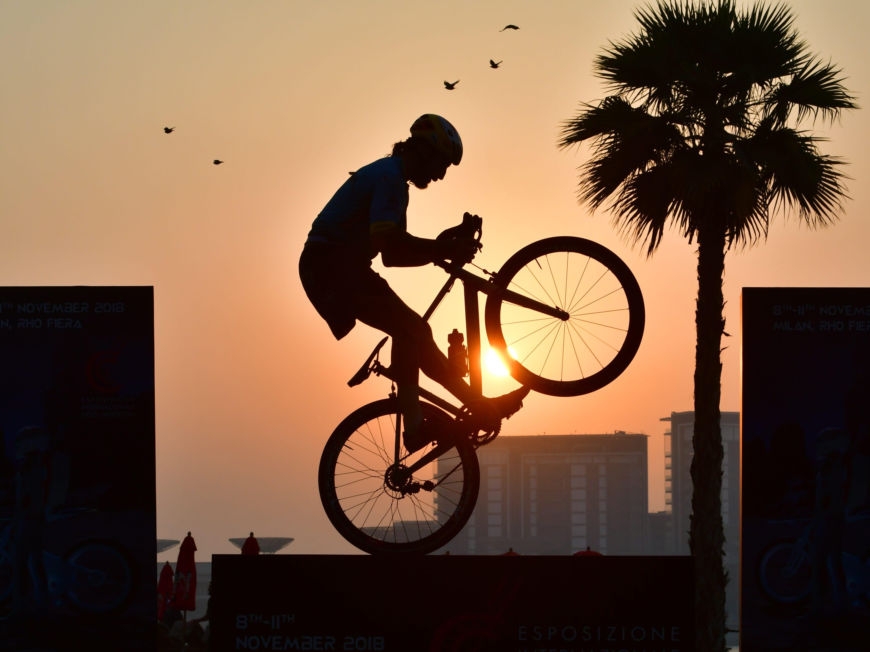 Italian free style rider Vittorio Brumotti performs at the Jumeirah Beach Residence in Dubai on Friday, Oct. 5, 2018.