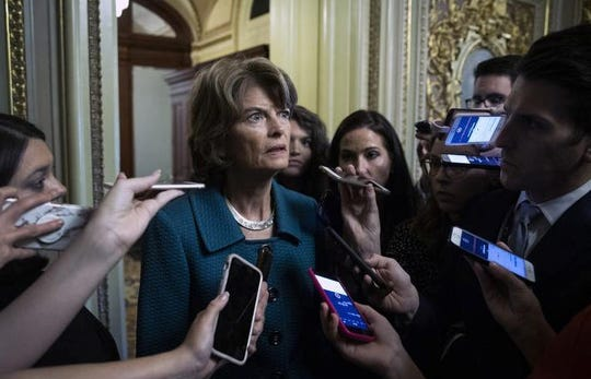 Sen. Lisa Murkowksi (R-AK) speaks to reporters after voting no on a cloture vote for the nomination of Supreme Court Judge Brett Kavanaugh to the U.S. Supreme Court, at the U.S. Capitol, October 5, 2018 in Washington, DC. The Senate voted 51-49 in a procedural vote to advance the nomination of Judge Brett Kavanaugh to the U.S. Supreme Court.