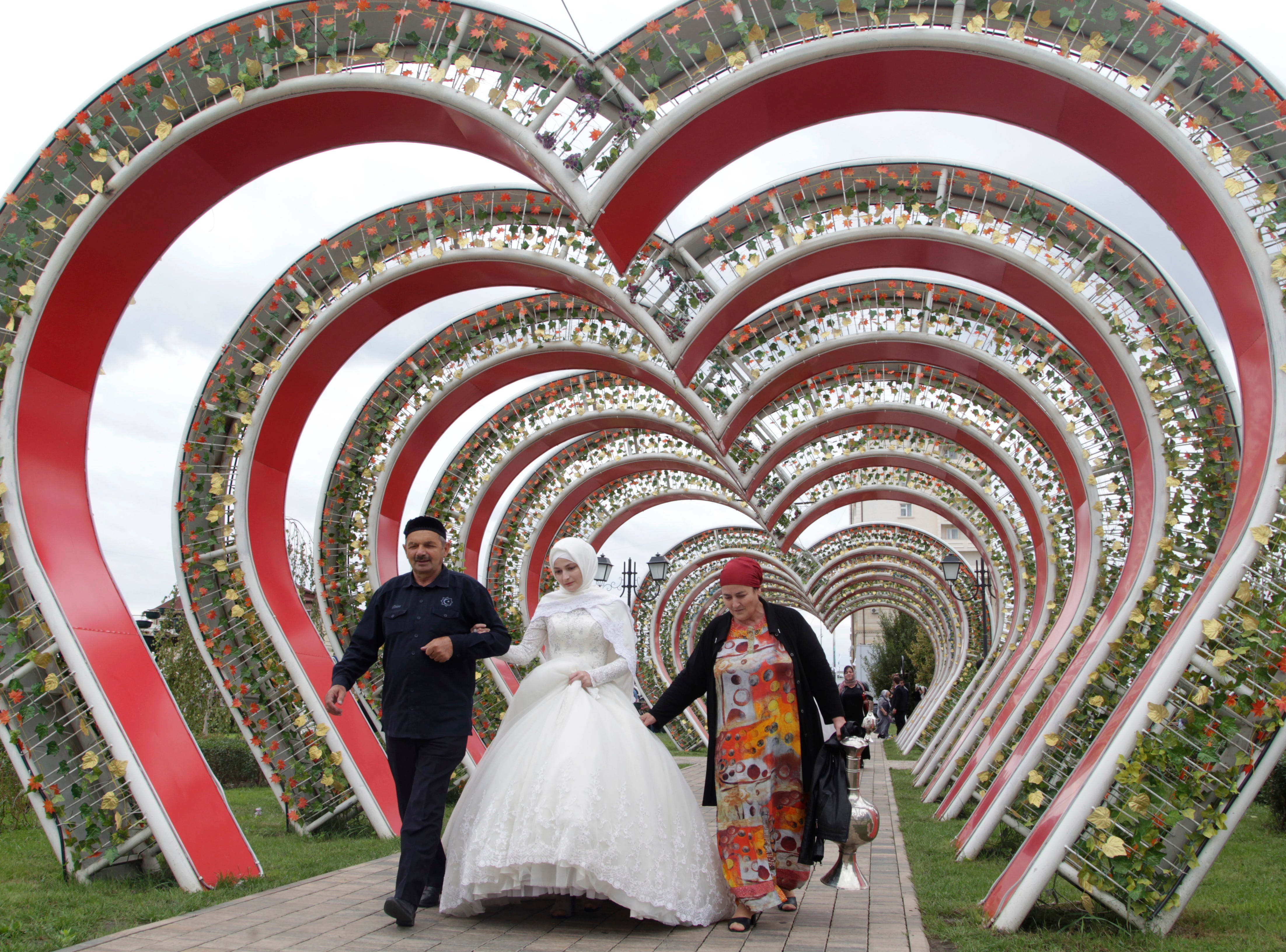 A view of one of 200 wedding ceremonies in Grozny, Russia, to mark the 200th birthday of the city on Friday, Oct. 5, 2018.