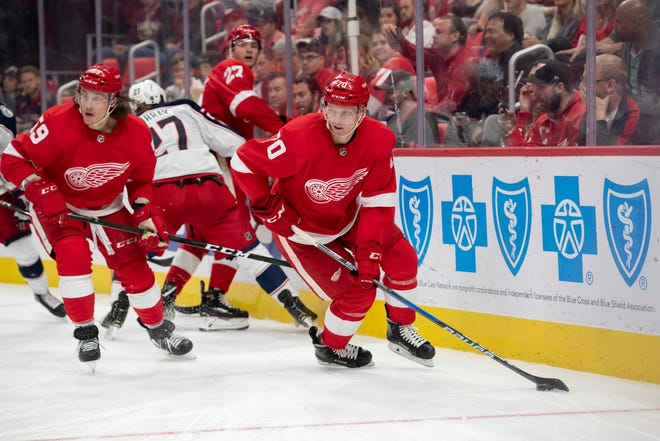 Center Christoffer Ehn was one of the young Red Wings who made his NHL debut on Thursday night.