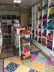 Inside the Labor of Love yarn truck.