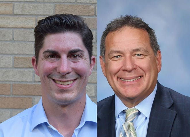 Mike MacDonald, left, R-Sterling Heights and Rep. Henry Yanez, D-Sterling Heights