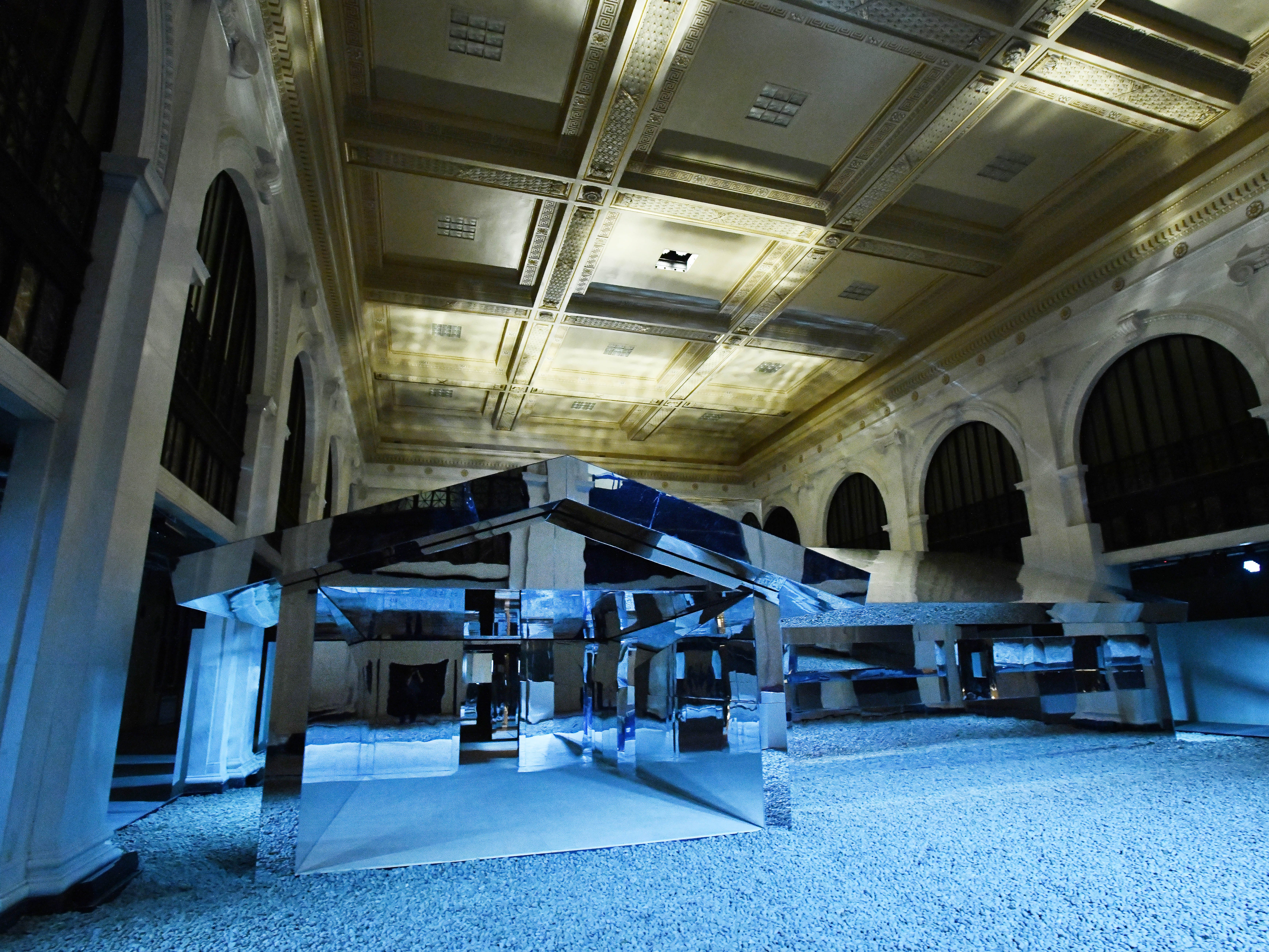 "Los Angeles artist Doug Aitken and his ""Mirage Detroit"" project in the old People's State Bank."
