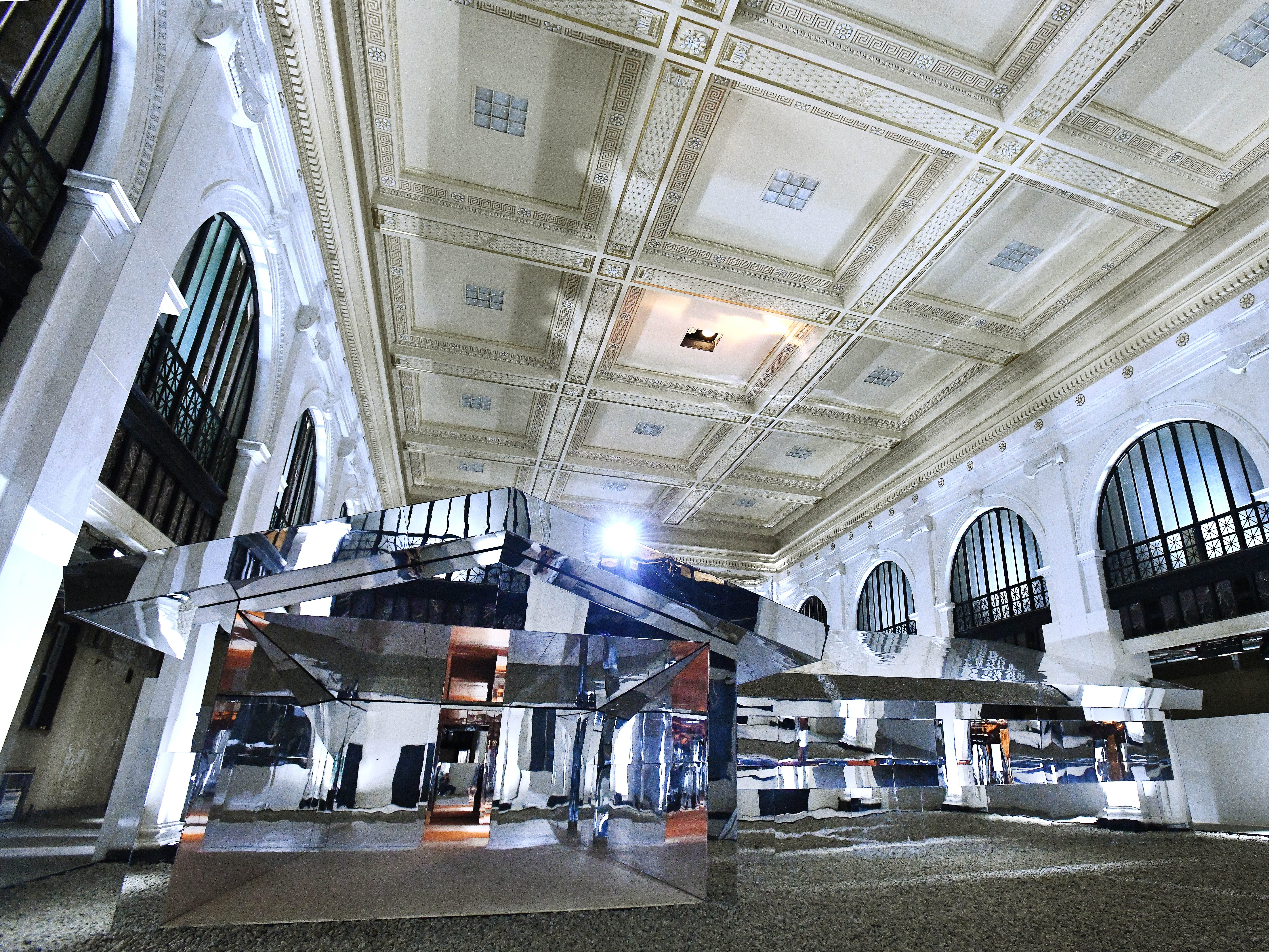 "Los Angeles artist Doug Aitken and his ""Mirage Detroit"" project in the old People's State Bank in Detroit, Michigan on Friday, Oct. 5, 2018."