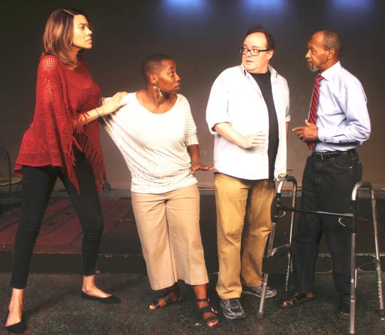 """Nicole Levey-Hunt, Yolanda Jack, David Wolber and Cornell Markham in rehearsal for """"Evidence of Things Unseen,"""" opening at the Detroit Repertory Theatre on Nov. 1."""