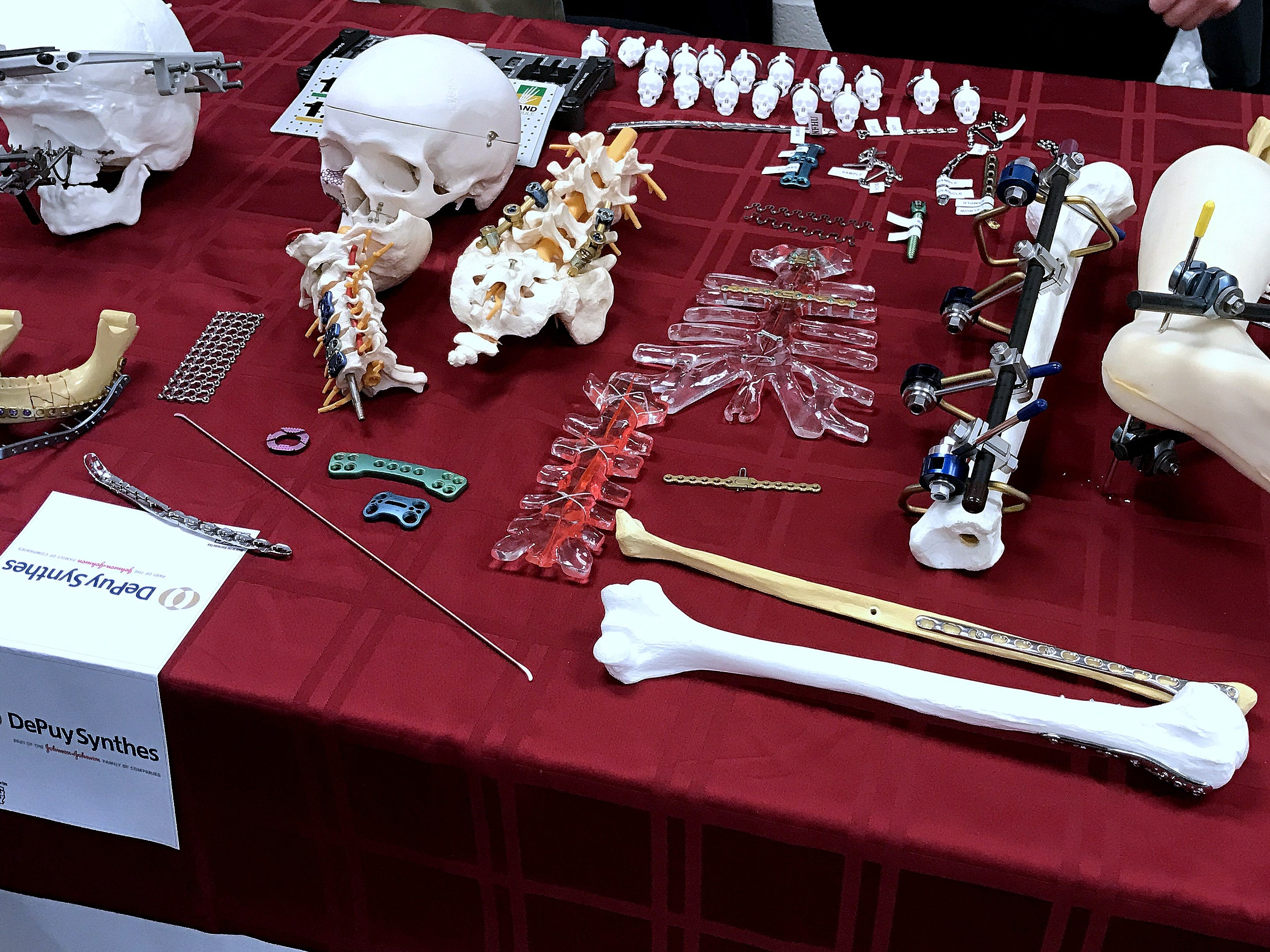 Local company DePuy Synthes displays some of the orthopedic implants it makes during Manufacturing Day on Friday at the BOCES campus in Horseheads.
