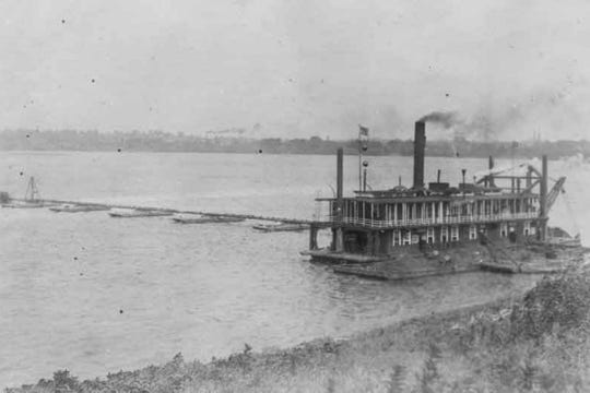 Photo of the Ohio River being dredged.