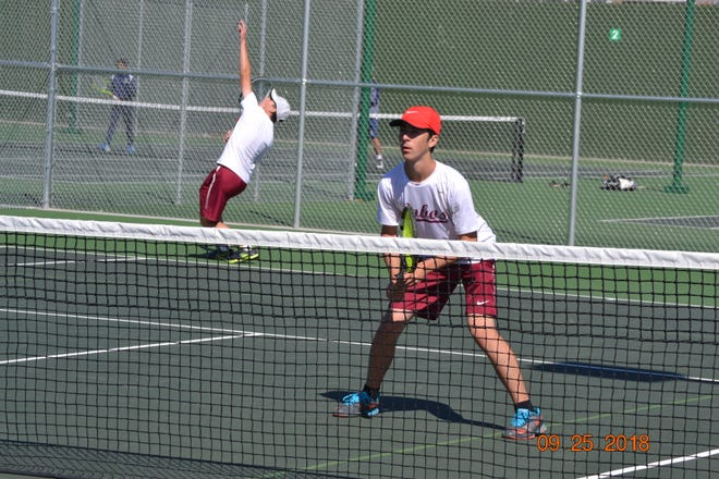 Rocky Mountain's No. 2  doubles team of  Trae Chudacoff, serving, and Benjamin Thompson qualified for state after placing second at regionals