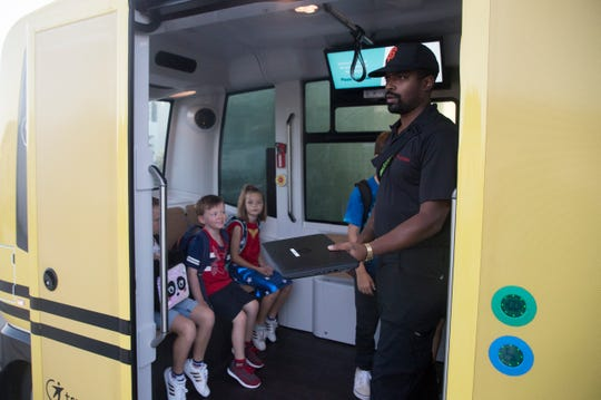 Jason Perez is one of the attendants for the driverless shuttles at Babcock Ranch. He is present on the bus in the case of emergencies and to over ride the vehicle in the event of unforseen obstacles.