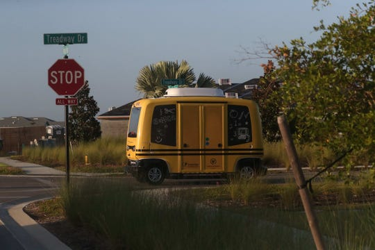 The town of Babcock Ranch has a driverless shuttle/school bus that takes resident students to Babcock Ranch Neighborhood School. For now it runs on Fridays. It runs with an attendant in the event of emergencies and unforeseen obstacles