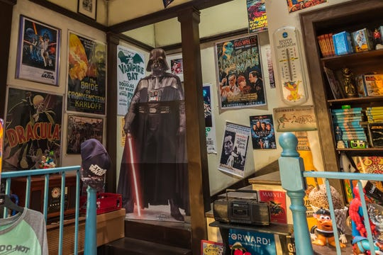 A life-sized Darth Vader cardboard cutout is one of the many nerdy highlights of the set of 'Salvage.'