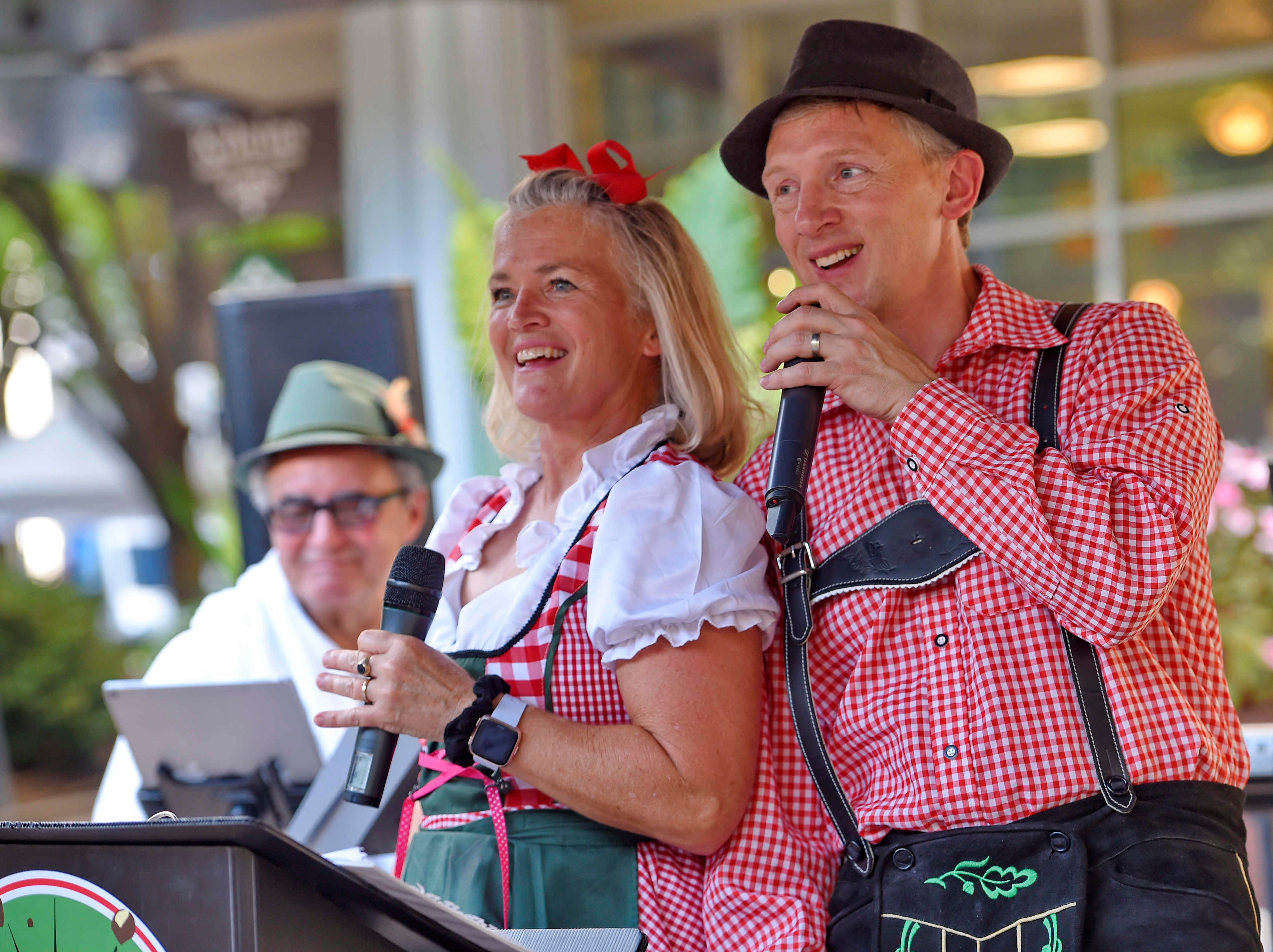 The Holzhacken Tyrolean Band performs on opening night of the Oktoberfest at NOMA Square in downtown Greenville Thursday, Oct. 4,  2018.