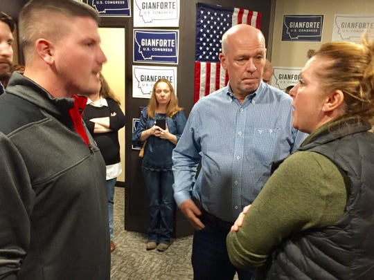Greg Gianforte, the incumbent and Republican candidate for Montana's lone U.S. House seat, chats with supporters during a September stop in Great Falls.