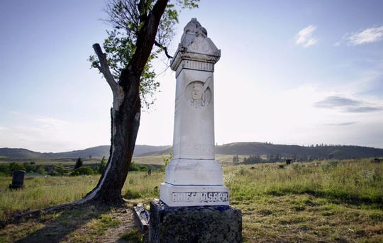 """A monument to Nez Perce leader Chief Joseph stands at the head of his grave near Nespelem, Wash., May 25, 2000, on the Colville Indian Reservation. It was Sept. 21, 1904, some 27 years after his famous """"I will fight no more forever"""" speech marking the end of a nearly 1,200-mile running battle with U.S. Army troops, that Chief Joseph died in his sleep hundreds of miles from his beloved Wallowa Mountains in Oregon. A century after his death, historians still debate whether he was a great war chief or simply a leader with diplomatic skills who wanted to stay on his traditional homeland."""
