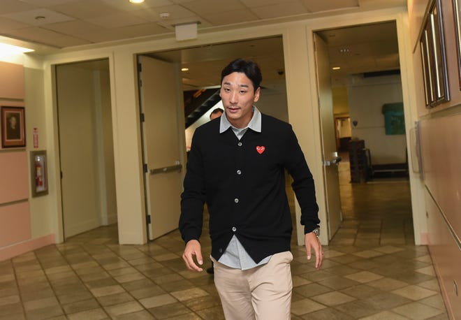 South Korean professional soccer player, Byong Oh Kim, 30, approaches the courtroom of Judge Arthur Barcinas to attend his trial at the Superior Court of Guam in Hagåtña, Oct. 5, 2018. Kim is accused in the sexual assault of a woman at LeoPalace Resort Guam in January, according to court documents.