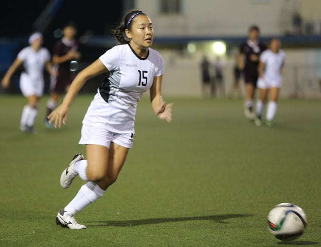 Yae Kawauchi of the Young Masakåda, Guam's U19 women's national team looks to advance the ball forward during a recent training session at the Guam Football Association National Training Center. The team faces off against the Northern Marianas Oct. 7.