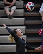 Henderson's Hannah Watkins (3) looks to spike the ball as the Henderson County Lady Colonels play the Caldwell County Lady Tigers at Colonel Gym Thursday, October  4, 2018.