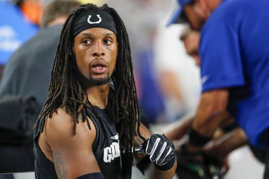 Colts defensive back Clayton Geathers waited in concussion protocol during the second quarter. He was shaken up in a collision with New England Patriots running back Sony Michel.