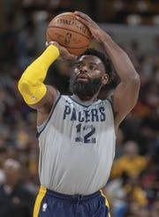 Tyreke Evans shot on Sept. 30 during the Pacers FanJam to kick off the 2018-2019 season.