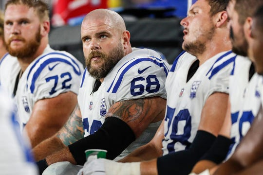 Members of the Indianapolis Colts defensive line are seen in the second quarter of the game against the New England Patriots at Gillette Stadium in Foxborough, Mass., Thursday, Oct 4, 2018.