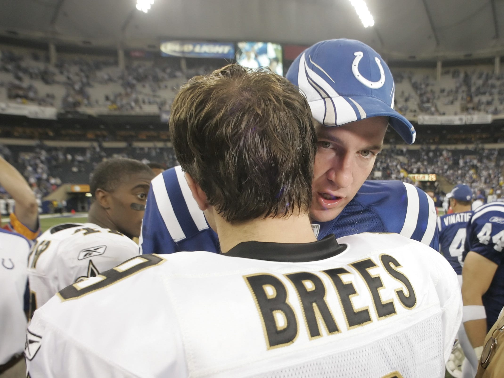 2007: The Colts Peyton Manning spoke with Brees after a game Sept. 6 at the RCA Dome. The Colts won, 41-10.