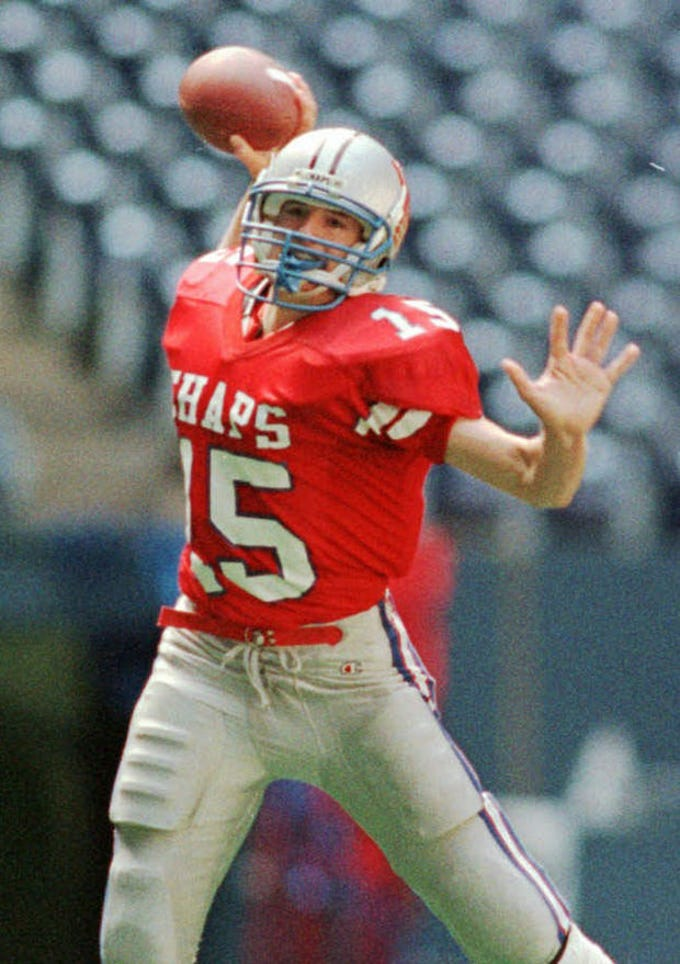 1996: Drew Brees led his Westlake (Texas) High School football team to a perfect 16–0 record and state championship. Westlake beat Abilene Cooper 55-15. It was the school's first -- and so far only -- state championship.