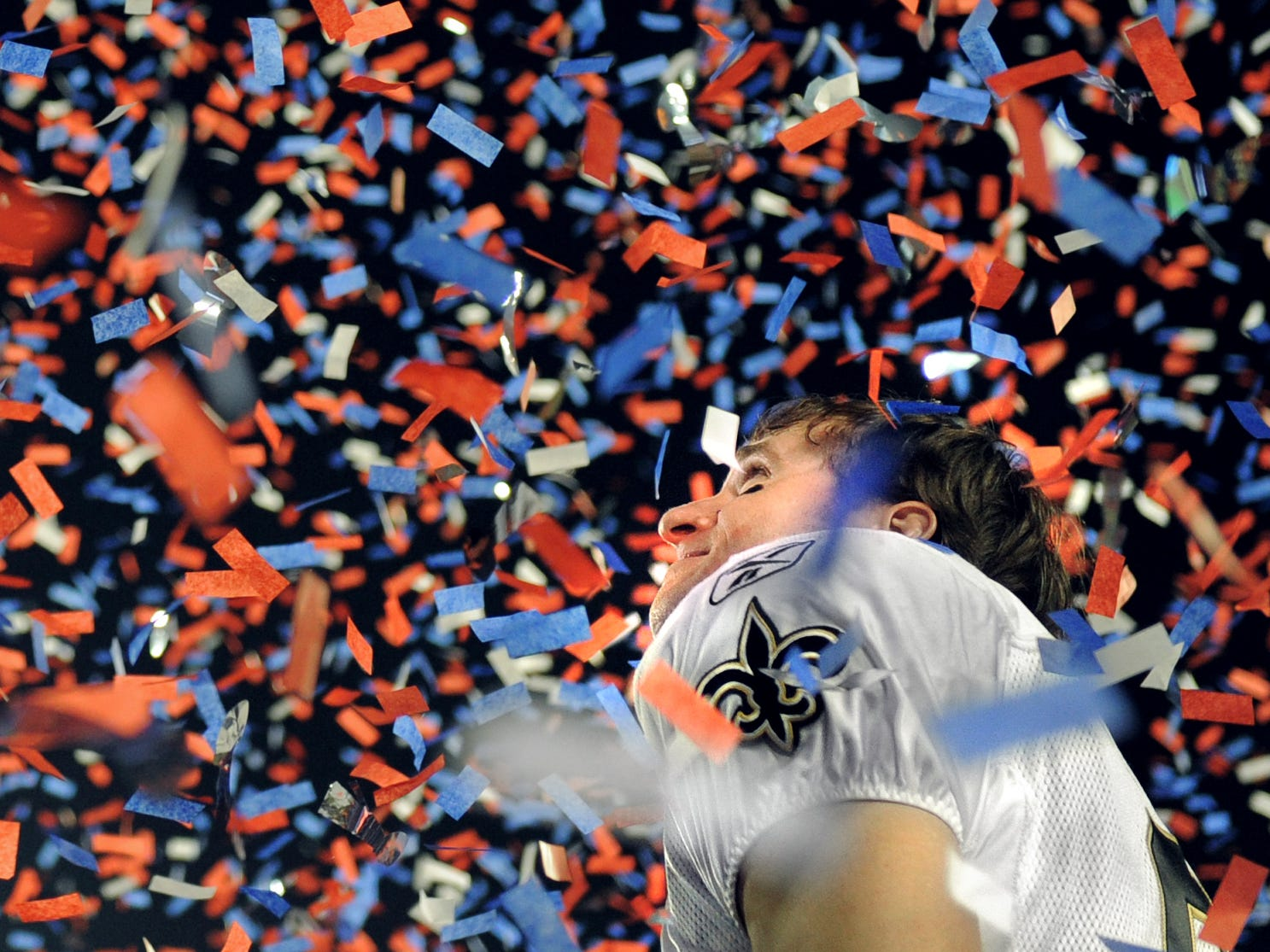 2010: Brees looked into the flying confetti after he and the Saints beat the Colts 31-17 in Super Bowl XLIV Sunday, Feb. 7 in Miami. (