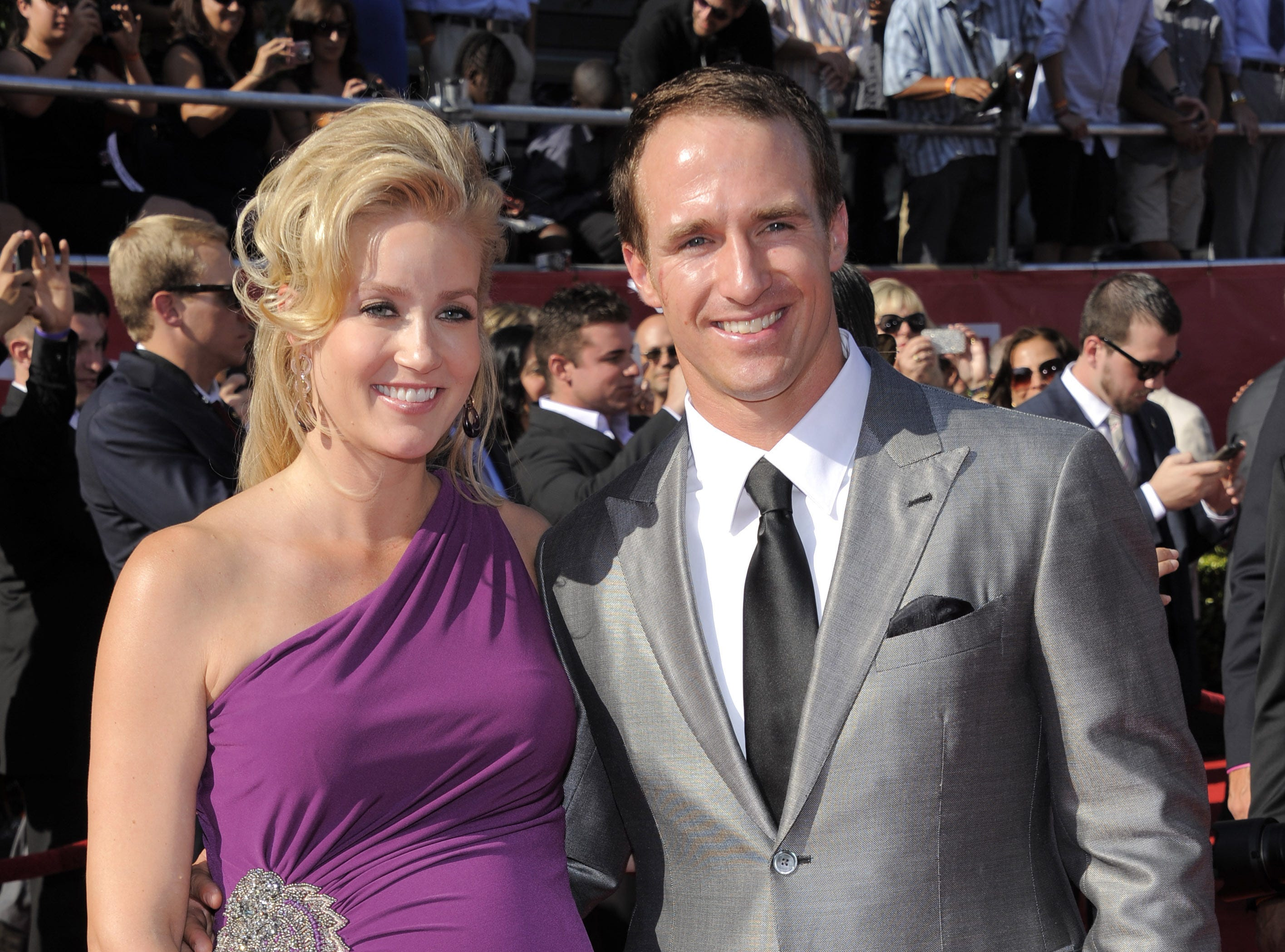 2012: Brittany and Drew Brees, both of whom attended Purdue, pledged  $1 million toward the Boilermakers? new football complex. They are shown arriving at the ESPY Awards July 11.
