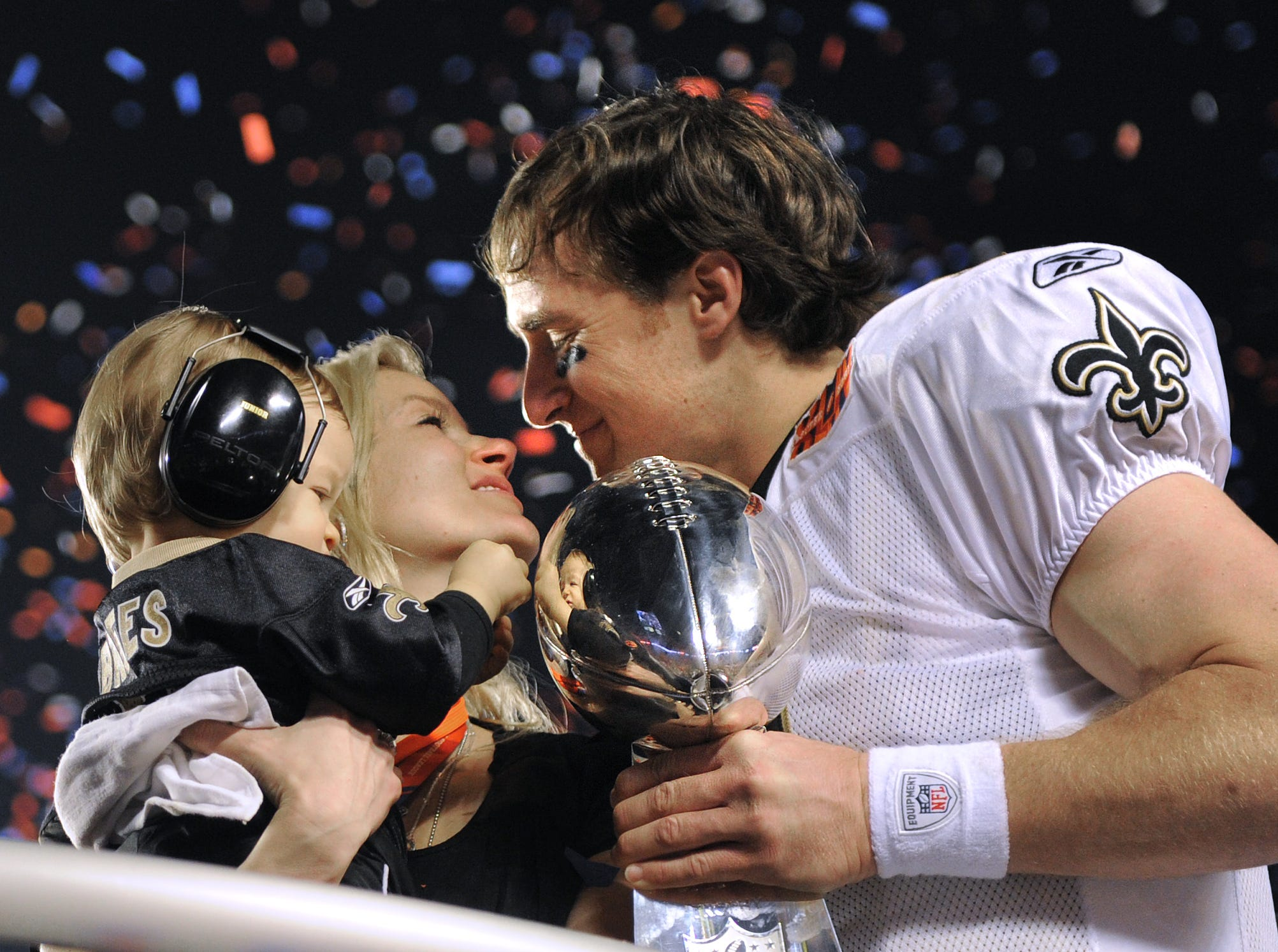 2010: Brees celebrates with wife Brittany and son Baylen after the Super Bowl win.
