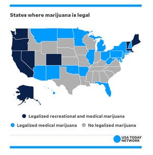 Map showing current legal status of marijuana in US states.