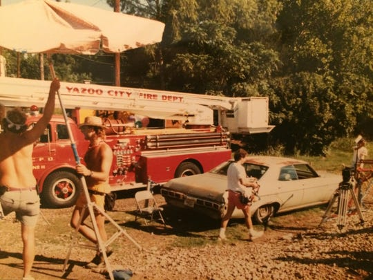 "Wide shot from the set of ""Miss Firecracker"" that was filmed in Yazoo City in 1988."