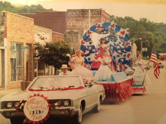 """The parade shot for """"Miss Firecracker"""" showis Yazoo City Main Street"""