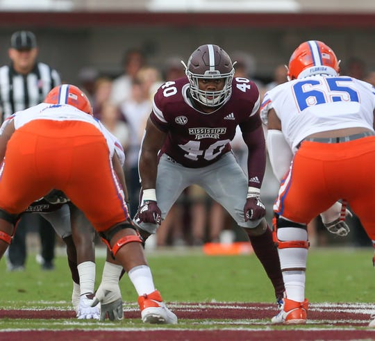 Mississippi State's Erroll Thompson (40) awaits the snap. Mississippi State and Florida played in an SEC college football game on Saturday, September 29, 2018, in Starkville. Photo by Keith Warren/Madatory Photo Credit