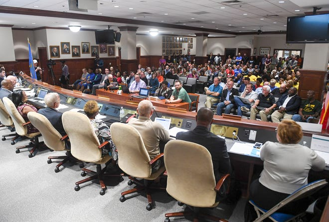 The Jackson-Madison County School Board meeting was held before a crowd inside Jackson City Hall, Thursday, October 4.