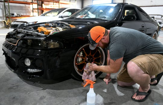 Matt Sweet works on the Nissan Skyline at 865 Motorsports & Body Works for Jake Jennings' mother on Thursday, October 4, 2018.