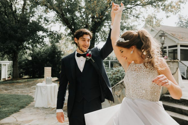 AJ and Madison Kolonis dance at their wedding at Dara's Gardens. (submitted by Dara Bozdogan)
