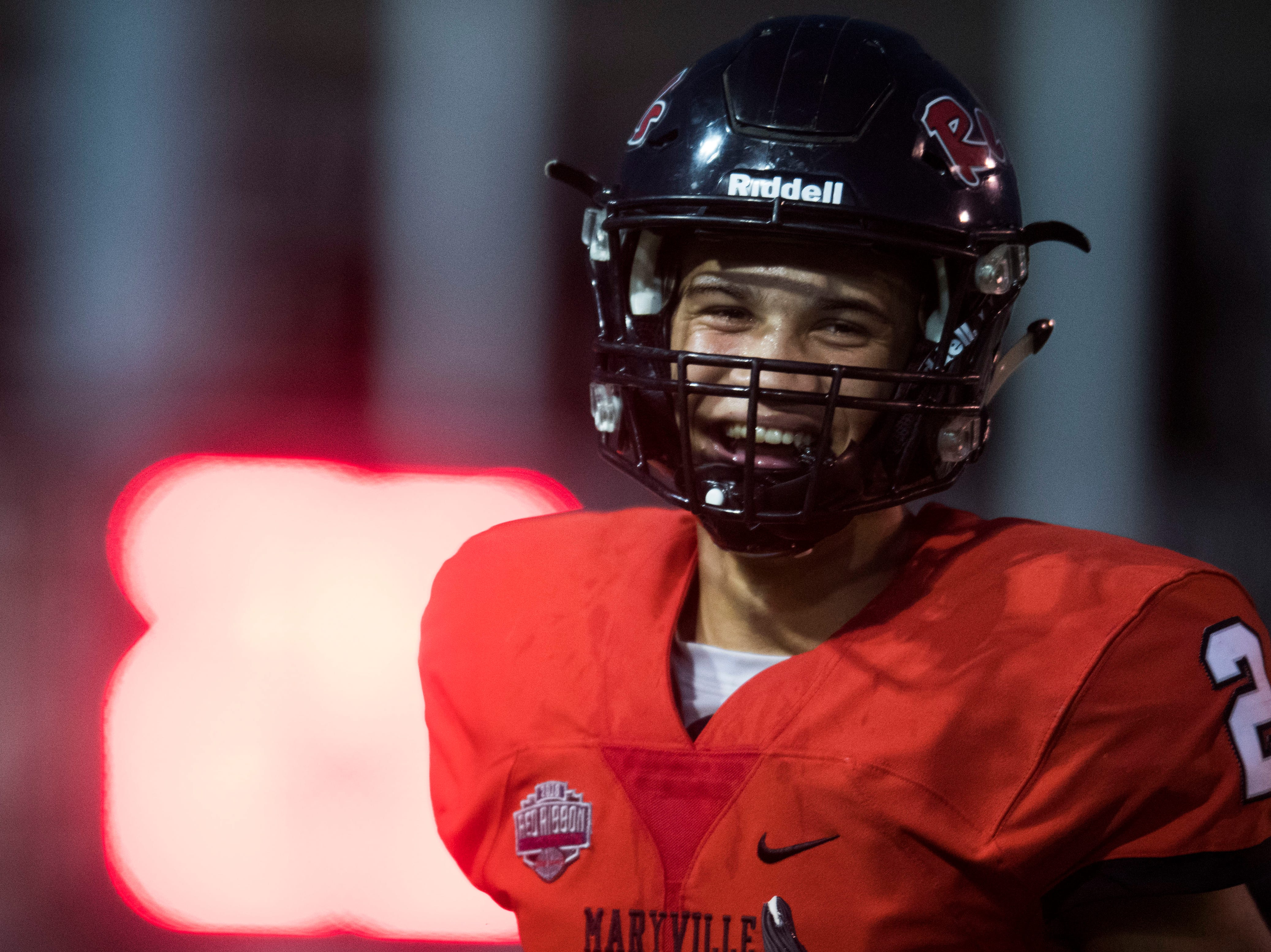 Maryville's Ashton Maples (2) celebrates a touchdown during a game between Cleveland and Maryville at Maryville Thursday, Oct. 4, 2018. Maryville defeated Cleveland 42-7.