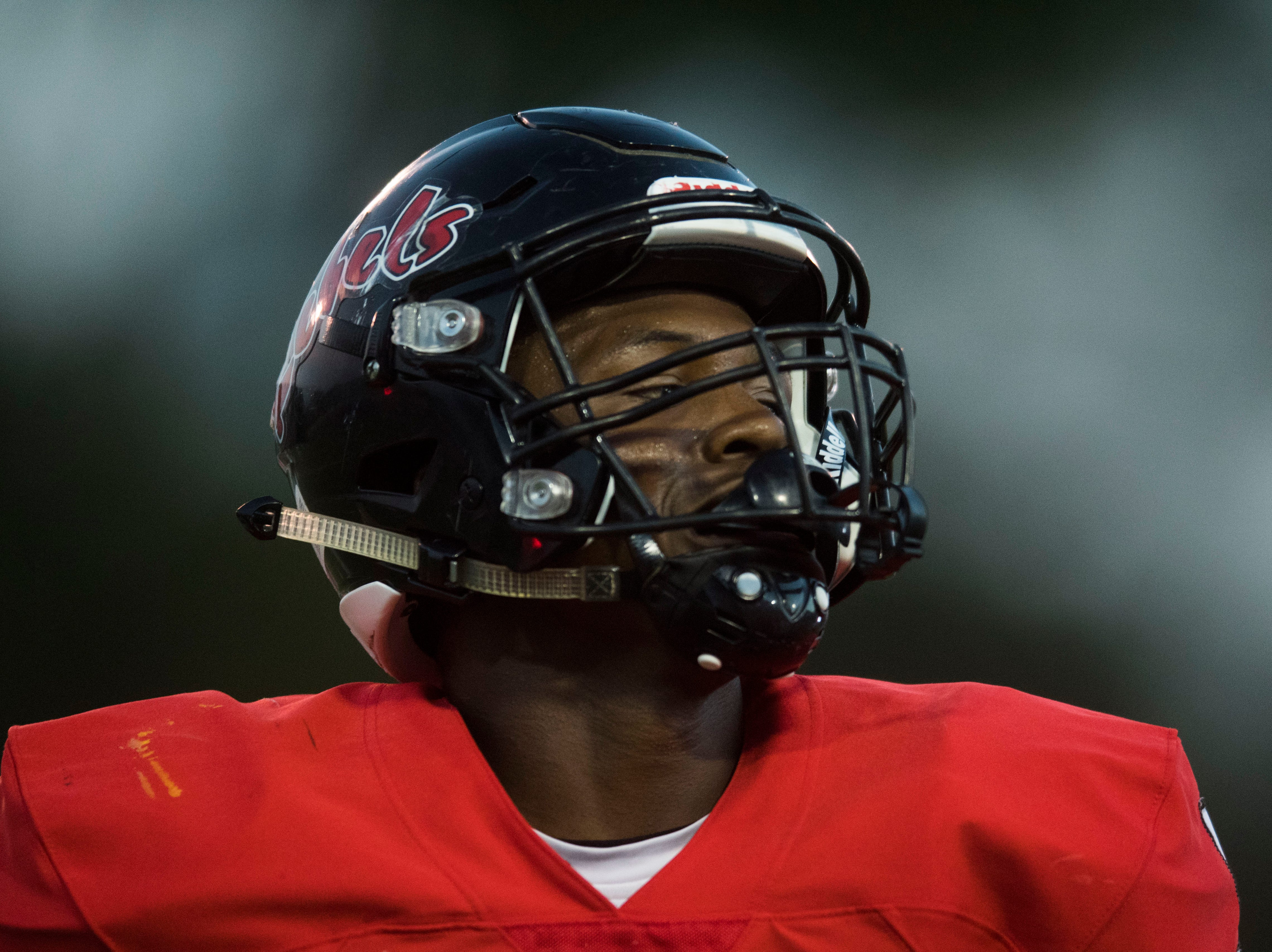 Maryville's DaVon Kimble (5) celebrates a turnover during a game between Cleveland and Maryville at Maryville Thursday, Oct. 4, 2018. Maryville defeated Cleveland 42-7.