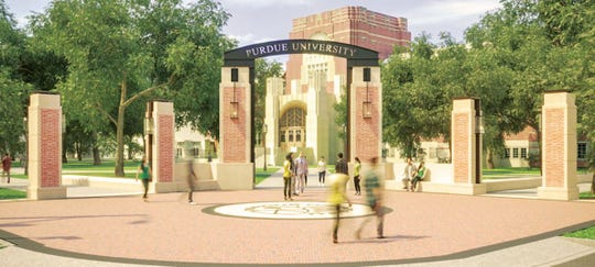 Purdue University plans to build a redesigned gateway to the West Lafayette campus at State and Grant streets in spring 2019.
