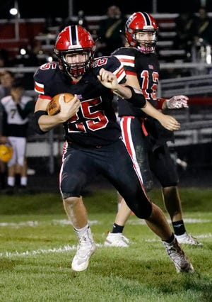 Fairfield Union senior running back Tylor Wolfe rushed for 355 yards and five touchdowns in the Falcons' 34-21 win over Logan Elm.