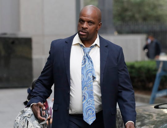 Brian Bowen Sr. arrives at federal court, Thursday, Oct. 4, 2018, in New York.  (AP Photo/Mark Lennihan)