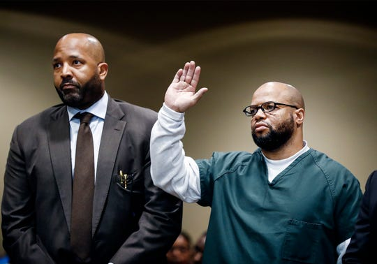 Defendant Billy Ray Turner (right) and  attorney John Keith Perry (left) make an appearance in Judge Lee V. CoffeeÕs courtroom Friday. Turner and co-defendant Sherra Wright charged with killing her ex-husband NBA star Lorenzen Wright.