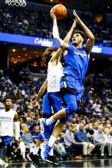 Isaiah Maurice drives the lane during Memphis Madness at the FedExForum on Thursday.