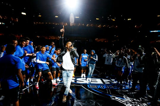 "BlocBoy JB performs during Memphis Madness at the FedExForum on Oct. 4. The Memphis rapper is suing Epic Games of the use of his ""Shoot"" dance in the popular game ""Fornite."""