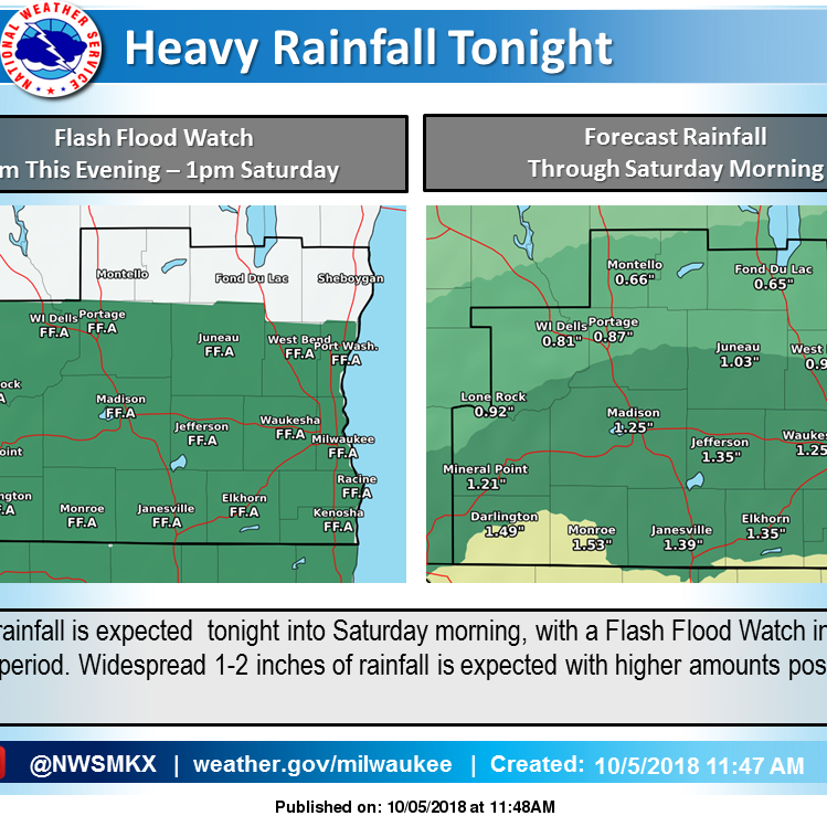 Heavy rain possible overnight; all of southern Wisconsin under a flash flood watch